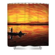 Fishing At Golden Hours Shower Curtain