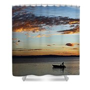 Fishing At Sunset On Lake Titicaca Shower Curtain