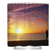Fishing At Sunset Shower Curtain