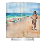 Fishing At The Beach Watercolor Shower Curtain