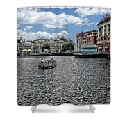 Fishing At The Boardwalk Before The Storm Shower Curtain