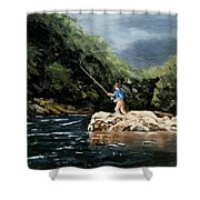 Fishing At  The Crack Of Dawn Shower Curtain