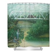 Fishing At The Pump House On White Oak Creek Shower Curtain