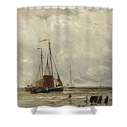 Fishing Barges At Low Tide Shower Curtain