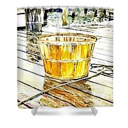 Fishing Basket Shower Curtain by Janet Moss