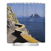 Fishing Boat Approaching Skellig Michael, County Kerry, In Spring Sunshine, Ireland Shower Curtain