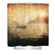 Fishing Boat At Sunset Shower Curtain