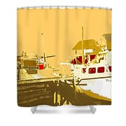 Fishing Boat At The Dock Shower Curtain