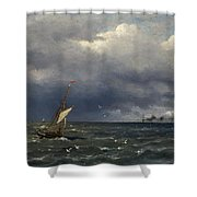 Fishing Boat At The Sea Shower Curtain