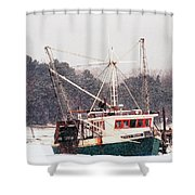 Fishing Boat Emma Rose In Winter Cape Cod Shower Curtain