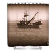 Fishing Boat In Monterey Bay Shower Curtain