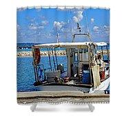 Fishing Boat Moored In The Harbor Of Katakolon Greece Shower Curtain