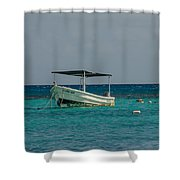 Scuba Boat On Turquoise Water Shower Curtain