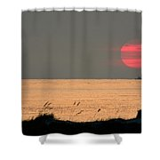 Fishing Boat Under Setting Sun Shower Curtain