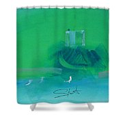 Fishing Boat With Seagulls Shower Curtain