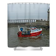 Fishing Boat Wy110 Emulater - Entering Whitby Harbour Shower Curtain