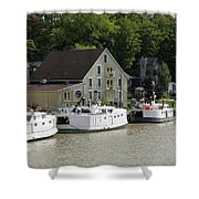 Fishing Boats All In A Row Shower Curtain