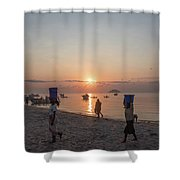 Fishing Boats And The Informal Market - Senga Bay Lake Malawi Shower Curtain
