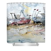 Fishing Boats At Hastings' Beach Shower Curtain