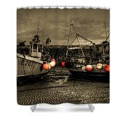 Fishing Boats At Lyme Regis Shower Curtain