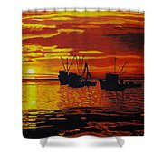 Fishing Boats At Sunset Shower Curtain