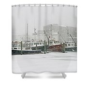 Fishing Boats During Winter Storm Sandwich Cape Cod Shower Curtain