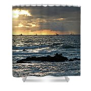 Fishing Boats Off Point Lobos Shower Curtain