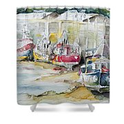 Fishing Boats Settled Aground During Ebb Tide Shower Curtain