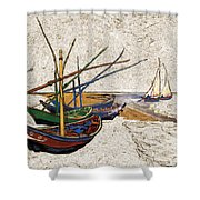 Fishing Boats Van Gogh Digital Art Shower Curtain