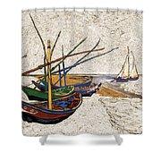 Fishing Boats Van Gogh Digital Art Shower Curtain