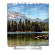 Fishing By Mount Lassen Shower Curtain