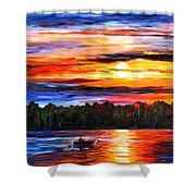 Fishing By The Sunset  Shower Curtain