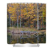 Fishing Dock In The Fall Shower Curtain