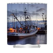 Fishing Fleet Shower Curtain by Randy Hall