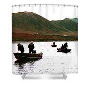 Fishing For Salmon - Karluck River - Kodiak Island Alaska Shower Curtain