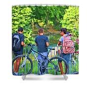 Fishing Friends, Azay Le Rideau, Loire Valley, France Shower Curtain
