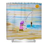 Fishing Girl Shower Curtain