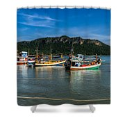 Fishing Harbour Shower Curtain