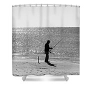 Fishing In Black And White Shower Curtain