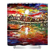 Fishing In The Moonlight Shower Curtain