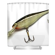 Fishing Lure Isolated On White Shower Curtain