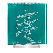 Fishing Lure Patent 1904 Green Shower Curtain