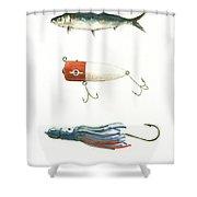 Fishing Lures Shower Curtain by Juan Bosco
