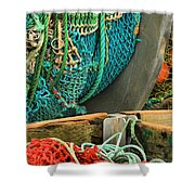 Fishing Net Portrait Shower Curtain