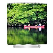 Fishing On Shady Shower Curtain by Lana Trussell