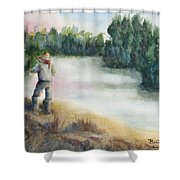 Fishing On The Banks Of The Churchill River, Sask, Ca Shower Curtain