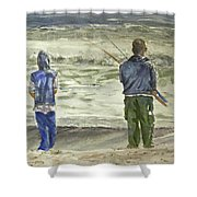 Fishing On The Beach Shower Curtain