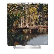 Fishing On The Bridge Shower Curtain