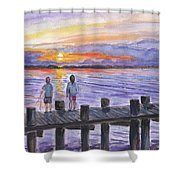 Fishing On The Dock Shower Curtain