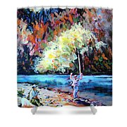 Fishing Painting Catch Of The Day Shower Curtain